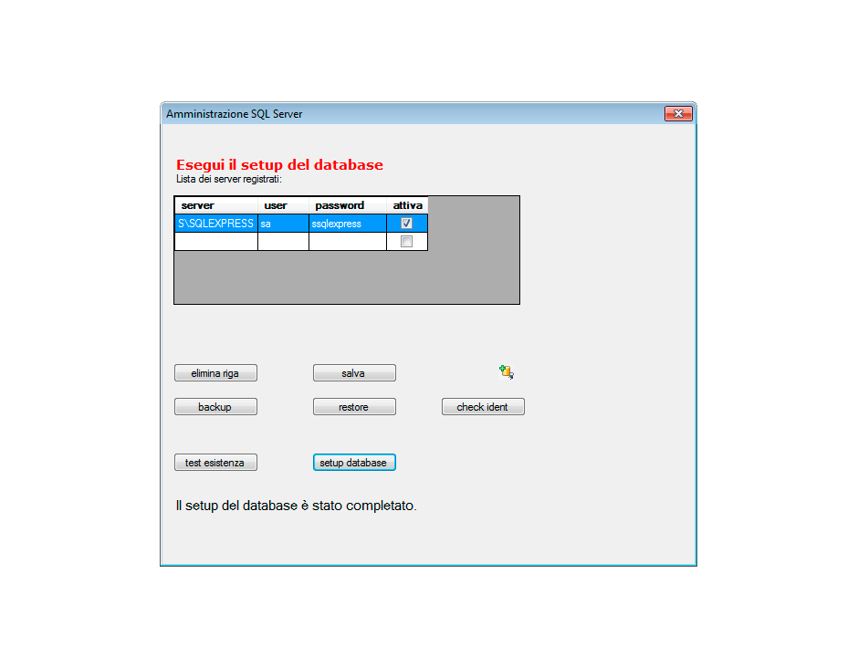 Setup database completato