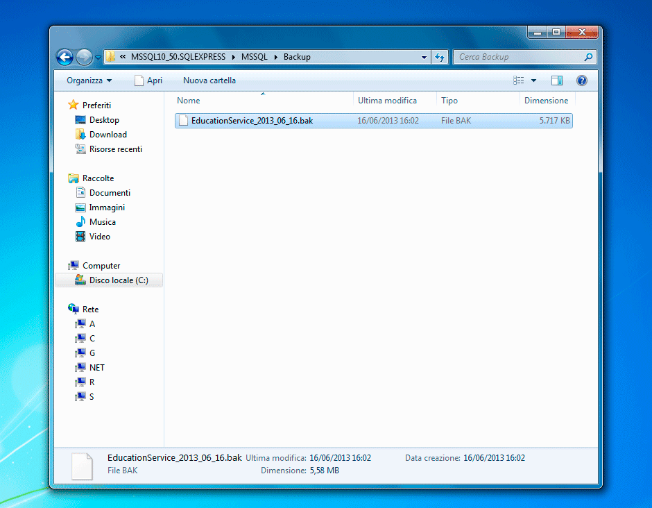 Rinominare il file di backup